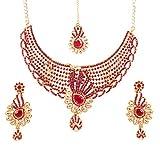 Touchstone Bollywood - Juego de Collar para Mujer, diseño Tradicional y Moderno de Estilo polki, con Diamantes de imitación, Color Dorado