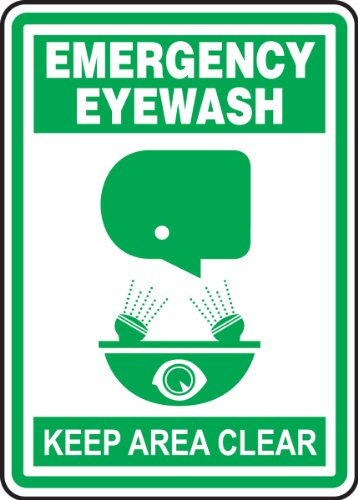 Accuform MFSD603XT Dura-Plastic Sign, Legend'Emergency Eyewash Keep Area Clear', 10' Length x 7' Width x 0.060' Thickness, Green On White, 10' Height, 7' Wide, 10' Length, Dura-Plastic, 10' x 7'