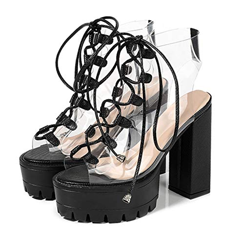 Yolkomo Women's Clear Ankle Boots Lace Up Chunky High Heel Platform Sandals Boots Ankle High Black Size 10