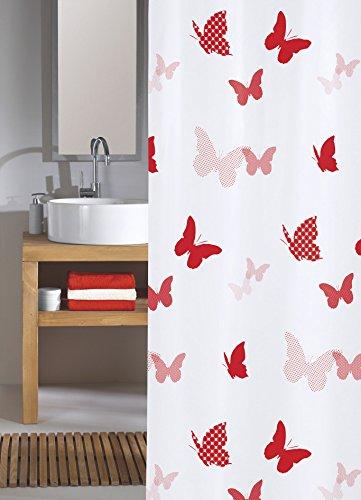 Meusch 2386462305 Duschvorhang Springtime, 180 x 200 cm, rot