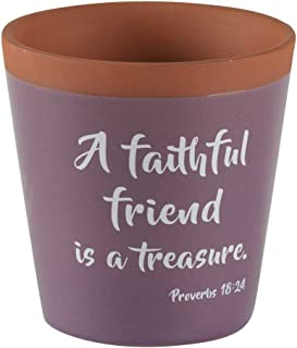 Dicksons A Faithful Friend Lavender and Rustic Red Clay 3 x 3.5 Terra Cotta Flower Pot