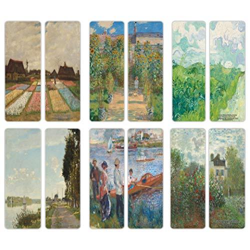 Creanoso Famous Classic Art Series 5 Bookmarks (60-Pack) – Van Gogh, Claude Monet, Auguste Renoir – Classical Art Inspiring Impressions – Great Bookmarker Collection for Men, Women, Teens, Artists