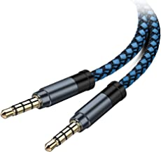 AUX Cable, [5ft / 2 Pack- Copper Shell, Hi-Fi Sound] 3.5mm Auxiliary Audio Cable Nylon Braided Aux Cord Compatible Car/Home Stereos,Speaker,iPhone iPod iPad,Headphones,Sony,Echo Dot,Beats ect (Blue)