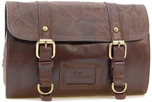 Ashwood Men's Hanging Wash Bag/Shaving Bag/Travel/Gym/Toiletry Bag - Genuine Leather and Canvas - Hammersmith 7010 - Tan