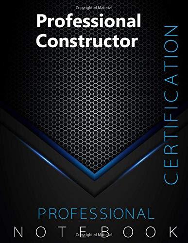 "Professional Constructor Certification Exam Preparation Notebook, examination study writing notebook, Office writing notebook, 140 pages, 8.5"" x 11"", Glossy cover, Black Hex"
