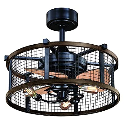 Humboldt Bronze and Teak Industrial Farmhouse Cage Ceiling Fan with LED Light Kit and Remote