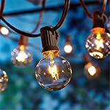 Bomcosy Outdoor String Lights, 50 Ft G40 Globe Patio Lights with 25 Edison Glass Bulbs, Waterproof, Connectable, E12 Socket Base Hanging Lights for Bistro Backyard Porch Balcony, Black