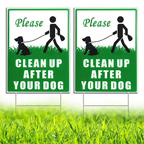 "HISVISION Please Clean Up After Your Dog 2 Pack, 12"" x 9"" Yard Sign with Metal Wire H-Stakes Included, No Pooping Dog Lawn Signs Double Sided"