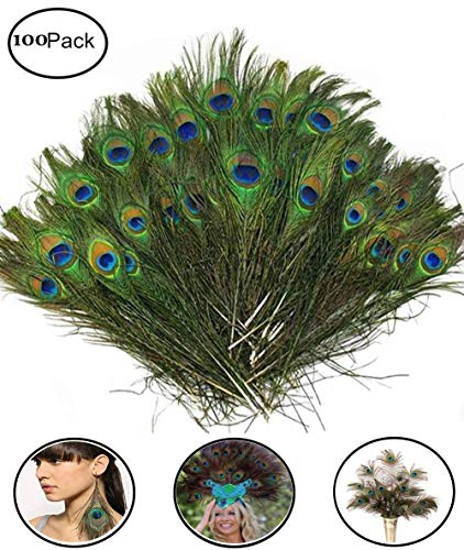 "Fashionclubs 100pcs Christmas Decor Natural Peacock Tail Eyes Feathers 8""-12"""