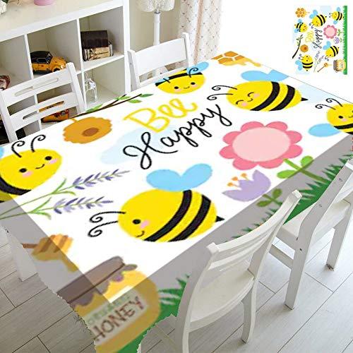 XXDD Manteles de Collage de Abejas de Miel de Dibujos Animados Mantel de Abejas Impermeable para niños Decoración de cumpleaños para niños Mesa de Comedor de Cocina A2 140x140cm