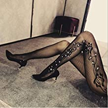 Instagram Fashion Inspired Womens One Size Tight Fishnet Thigh | Stylish High Stockings Pantyhose with Choice of Holes and Diamond, Compression Stockings Sexy Suspender for Women (Black, W44)