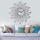 Mariisay Reloj De Pared Redondo con Piedras Casual Chic Preciosas 33 Cm Reloj De Pared En Tono Plateado Diseño Vintage Antiguo Estilo Rústico Moderno De Sala De Estar (Color : Colour, Size : Size)