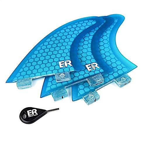 Eisbach Riders Surfboard FCS Fiberglass Honeycomb Fin Thruster Set mit Fin Key - Finnen Flossen für Surfbrett und SUP (Blau, Größe G7 - Large)