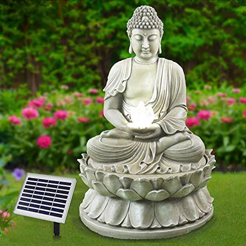 Gartenbrunnen Solarbrunnen Brunnen Buddha-Eternity Vogelbad Wasserfall, Gartendeko mit Pumpe, Wasserspiel für Garten Terrasse, Balkon, Sehr Dekorativ, Led-Licht-Gartenleuchte