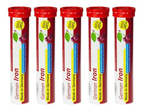 Eisen Brausetabletten 5x20 Stk. - Kirsch Geschmack – 14 mg Eisen Zuckerfrei – T&D Pharma German Iron – Made in Germany