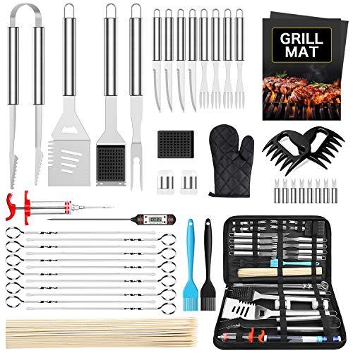 Morole 45 PCS BBQ Grillbesteck Tool Set, Grillset Grillzubehör Geschenk für Männer Grillkoffer mit Grillmatte aus Hochwertiger Edelstahl für Garten und Camping für Männer und Frauen Ink. Koffer