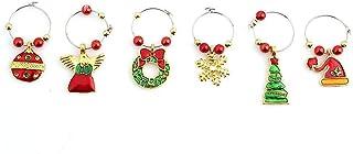 Hoveey - 6 piezas de colgantes de cristal de vino, marcador de anillas, decoración de mesa de Navidad, fiesta o bar (oro)