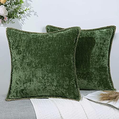 Set di 2 federe per cuscino decorativo in ciniglia, per divano, soggiorno, salvia di salvia