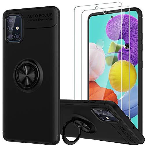 LK Custodia per Samsung Galaxy A51, [Cavalletto Anello] Anti Scratch Assorbimento Urti TPU Morbido Paraurti Protettiva…
