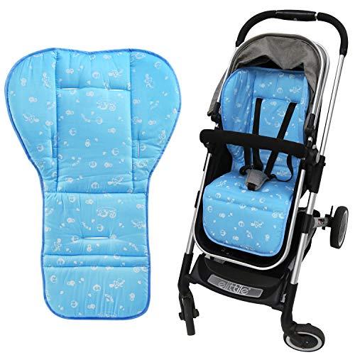 NEWSTYLE Baby Sitzauflage,Weich und Reversible Baby reine Baumwolle Kinderwagen Autositz Liner Pram Insert Portable Wickelauflage,für Kinderwagen, Buggy, Kindersitz und Babyschale (Blau)