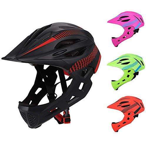 Kinder Fahrradhelm, Abnehmbare Voll Gesicht Kinn Schutz Balance Fahrrad Schutzhelm mit Rücklicht & Atmungsaktiv Löcher für Reiten/Skateboard/Fahrrad/Scooter - Schwarz + Rot