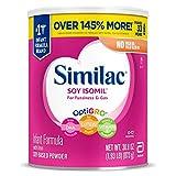 Similac Soy Isomil Infant Formula with Iron, Powder, 30.8 oz (Pack of 4)