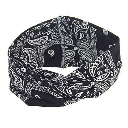 YO-HAPPY Mujeres Bohemia Ancho elástico Diademas Tocado Headwrap Turbante Vendaje Banda para la Cabeza