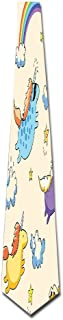 WuLion Pastel Colored Illustration Of Several Flying Pony Baby Unicorns In The Air Men's Classic Silk Wide Tie Necktie (8 CM)