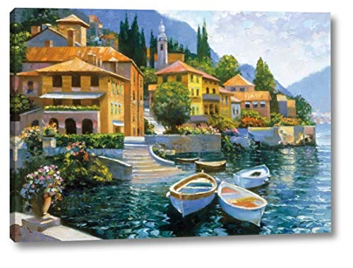 """Lake Como Landing by Howard Behrens - 11"""" x 16"""" Canvas Art Print Gallery Wrapped - Ready to Hang"""