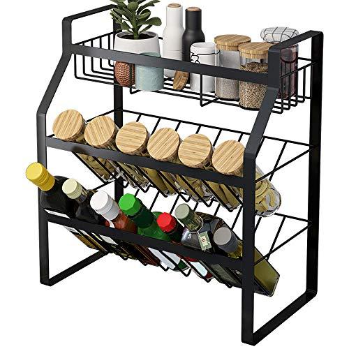 Estante de especias de 3 niveles organizador de encimera de cocina para tarros y botellas antideslizantes para condimentos y cajones