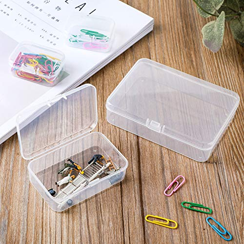 LJY 28 Pieces Mixed Sizes Rectangular Empty Mini Clear Plastic Storage Containers with Lids for Small Items and Other Craft Projects