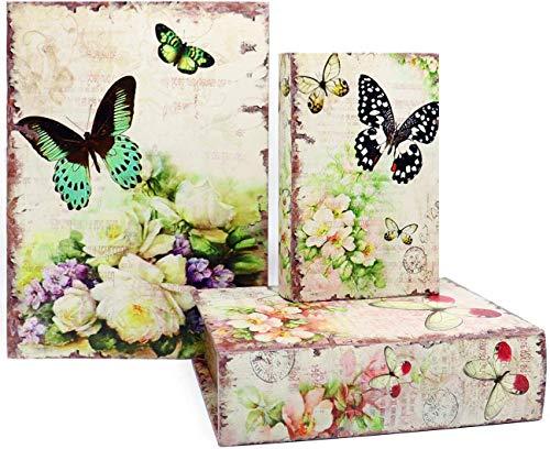 Jolitac - Cajas decorativas para libros, diseño antiguo, caja de almacenamiento invisible con tapa magnética, juego de 3 unidades