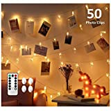 CADNLY String Lights with Clips - 50 LED Photo Clips String Lights for Bedroom Wall Displa...