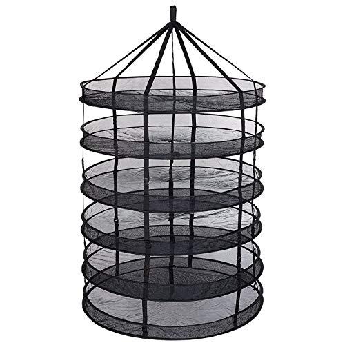 Fransande 6-lagiges schwarzes Netz zum Aufhängen von Kräutern, Trockennetz zur Aufbewahrung von Samen, 60 cm, 6 Ebenen