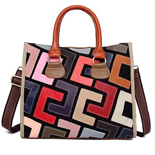 Segater® Damen mehrfarbige echte Ledertasche Tote tasche Buntleder Graffiti Print Bunte Handtasche Vintage geometrische Puzzle Patchwork Geldbörse Frauen Schultertaschen
