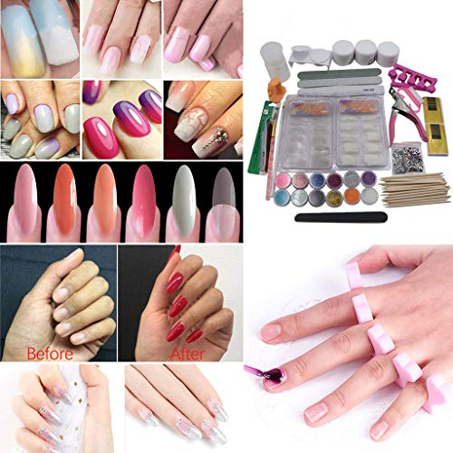 Professional Nail Art Acrylic Powder Liquid Primer Tips Practice Art Decoration Glitter Nail Art Tool Full 22-Kits by 2DXuixsh (22-Kits, Multicolor)