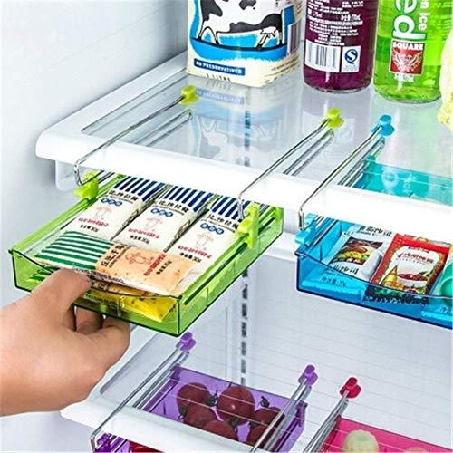 Blue, 1 Pieza POLP Frigor/íficos Organizadores de Cajones Caja de Almacenamiento del Refrigerador Mantiene el Refrigerador Ordenado Estante Soporte Contenedor de Alimentos Cestas