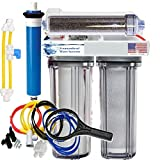 FOUNTAINHEAD WATER SYSTEMS RO/DI Reverse Osmosis Aquarium/Reef System 4 Stage Clear Manual Flush Valve 150 GPD