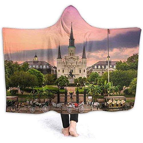 DJNGN Manta con Capucha de 60 x 50 Pulgadas para Adultos Jackson Square New Orleans Layer Warm Plush Super Soft TV Wele Cloak Throw Blanket,