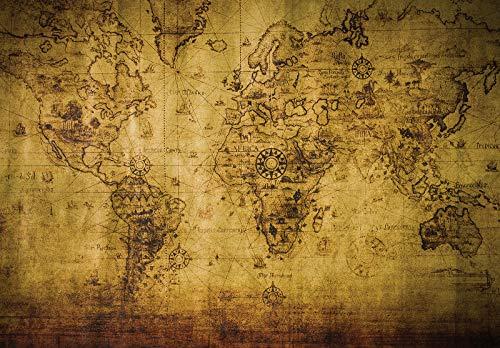 Forwall Fototapete Vlies Tapete Wanddeko Landkarte Weltkarte - Kontinente Moderne Wanddekoration 3600VEXXXL 416cm x 254cm Schlafzimmer Wohnzimmer