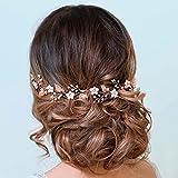 Handcess Hojas de novia Boda Vine Silver Pearl Opal Headpiece Flower Rhinestone Accesorios para el pelo de novia para mujeres y niñas (oro rosa)