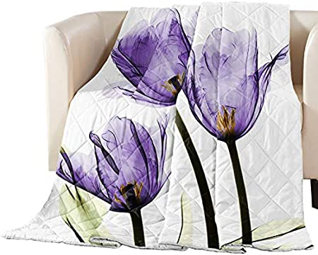 Lightweight Duvet Insert Down Quilted Blankets Coverlet for Kids//Women//Men//Teens Elegant Tulip Purple Flower Twin Bed Quilt Blanket Crystal Emotion Thin Bedding Comforters for Summer Floral