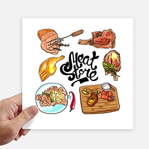 DIYthinker Meat Store Barbecue Steak Square Stickers 20Cm muur koffer Laptop Motobike Decal 4 Stks