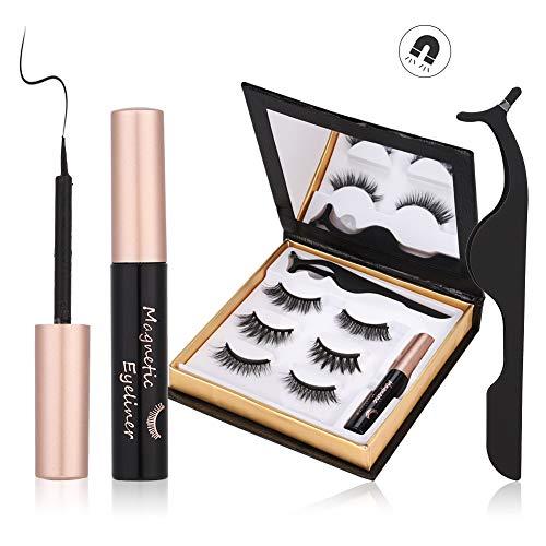 Magnetische Wimpern, Magnetic Eyeliner, 3D Wiederverwendbar Magnetischer Eyeliner Set, 3 Paar...
