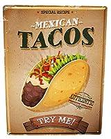 ブリキ看板 Tin Sign Metal plate plaque XXL Retro mexican tacos