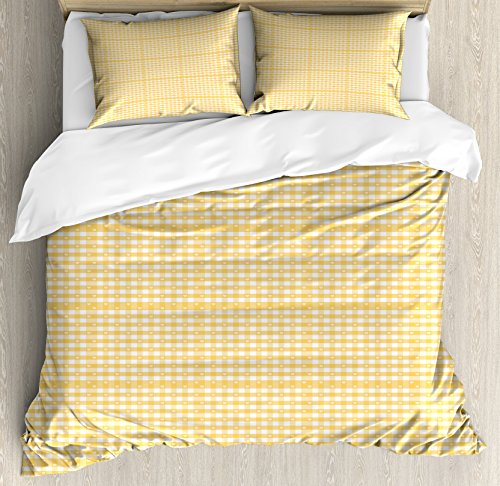 Ambesonne Vintage Yellow Duvet Cover Set, Gingham Pattern with Bicolor Checkered Squares with Heart Motifs, Decorative 3 Piece Bedding Set with 2 Pillow Shams, Queen Size, Mustard White
