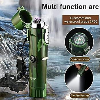 Lampe de poche plus claire étanche, plasma électrique rechargeable USB briquet, lampe à lampe de poche et boussole portable pour la randonnée en camping en plein air 108 × 25 × 22mm ( Color : Black )
