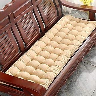 Lovemorebuy Cojín de banco rectangular de 8 cm de grosor, para asiento de banco, cojín suave, cojín para silla de jardín al aire libre para 1, 2, 3 plazas (48 x 120 cm), color beige