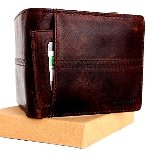Men's Money Vintage Genuine Italian Leather Slim Wallet Coin Natural Pocket Purse Luxury Stylethin brown