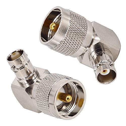 BOOBRIE 2 x PL259 UHF macho a BNC hembra adaptador coaxial RF de ángulo recto adaptador de UHF a BNC de 90 grados para antenas, dispositivos LAN inalámbricos, antena externa para radio Wi-Fi